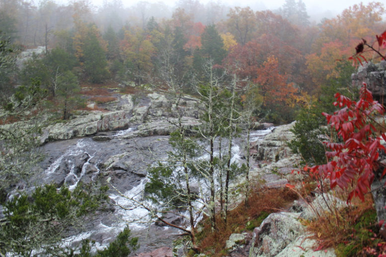 Image of Rocky Falls in the fog. Shannon County near Jacks Fork River.